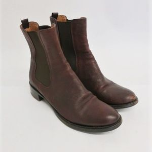 Prada Chelsea Boots Brown Leather Size 36.5